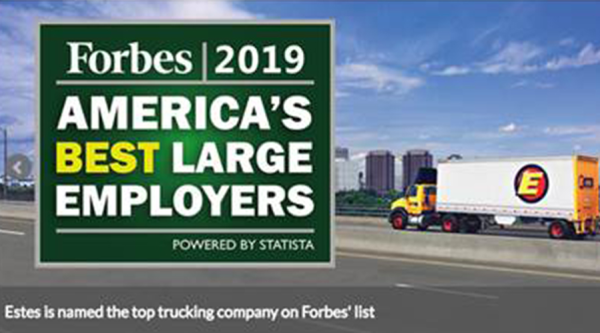 Forbes Ranks Estes Express Lines One of America's Best Large Employers of 2019